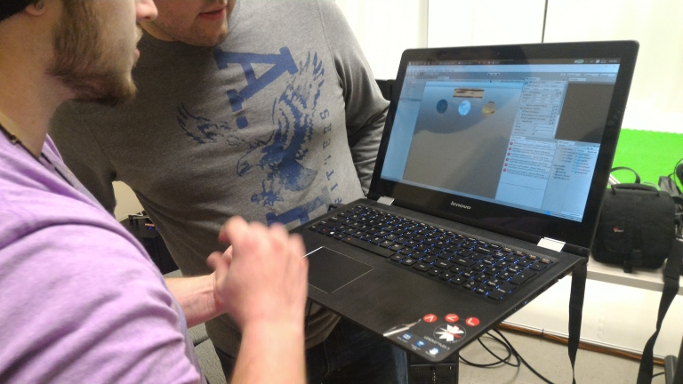 Students developing a game prototype in Unity