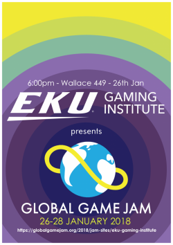 Global Game Jam Flyer starts 1/26 @ 6PM in Wallace 449